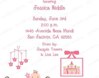 10  Princess Baby Shower Invitations with Envelopes.  Free Return Address Labels