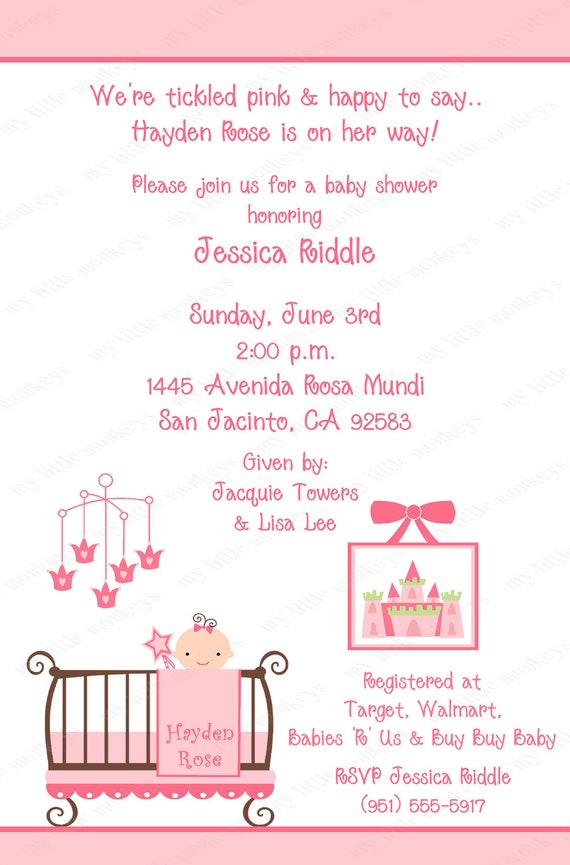 10 Princess Baby Shower Invitations with Envelopes. Free