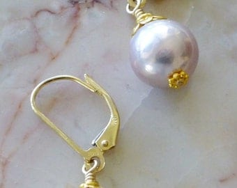 Dusty Pink and Gold Drop Earrings