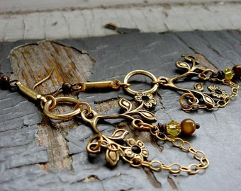 BRANCHES - long chandelier tree, 14k gold chain, yellow crystal, wire wrapped stone statement bold EARRINGS