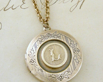 Locket Necklace - Vintage Necklace - Initial L - Letter L - Brass - Personalized Necklace - ALL LETTERS - Chloes Vintage Jewelry - handmade
