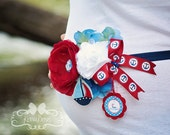 "Nautical Baby Bump Band - ""It's a Boy"" - Maternity Sash, Adjustable, Sailboat, Anchor, Red, White, Blue, Baby Boy"