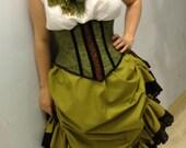 Moss Green- Steampunk Victorian  Edwardian Skirt