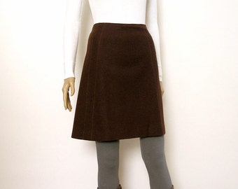 Vintage 1970s Mini Skirt Chocolate Brown Wool Flared Mini Skirt  / Small