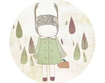 Kid Room Art Child Decor  - Deer Girl and Raindrops Illustration