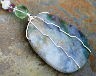 Wire Wrapped Necklace,  Handmade Necklace, Natural Stone Necklace, Lavender Purple Necklace, Light Green Tree Agate Necklace