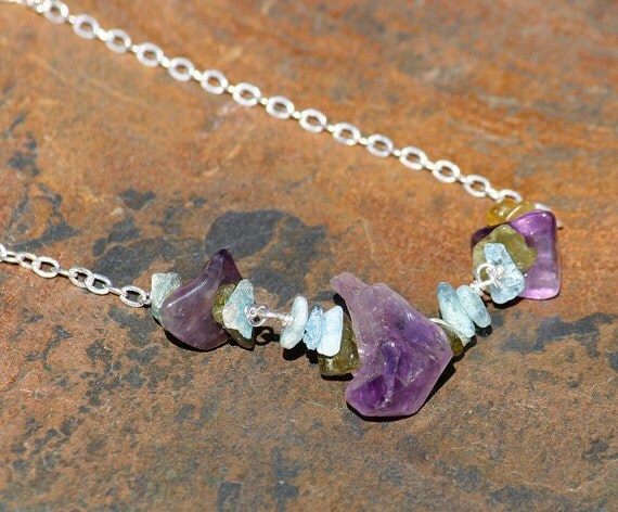 Raw Stone Necklace, Amethyst Necklace, Purple Necklace, Natural Stone Necklace, Semi Precious Stone Necklace, Aquamarine, Gemstone Necklace