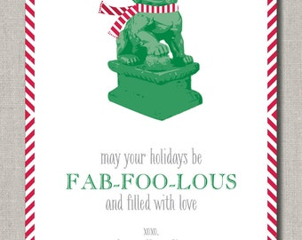 Christmas or Holiday Greeting Card, Foo Dog Christmas, Set of 24 flat cards by Abigail Christine Design