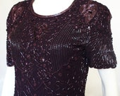 Vintage 80s heavily beaded embellished dark purple plum knee length shift party dress with short sleeves  medium to large