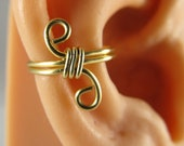 Gold Ear Cuff Wrap Cartilage Non Pierced Wire Wrapped Gift Under 10