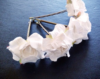 Hello White Rose, Bridal Hair Accessory, Wedding Accessories, Bridesmaid Hair Flower, White Hair Flower, Bobby Pin Set of 4