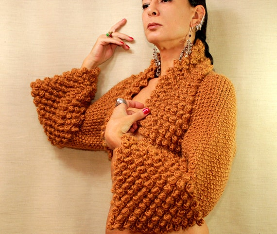 A Very Fine Day / Knit Shrug Bolero Jacket Shrug Loop Sweater Cardigan Saffron Ochre Mustard S-M-L  Alpaca Wool Shrug / By Lilithist