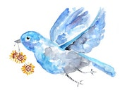 Whimsical, spring decor, blue, yellow, bird art, blue bird print, spring wall art, bird watercolor painting, bathroom decor,bathroom print