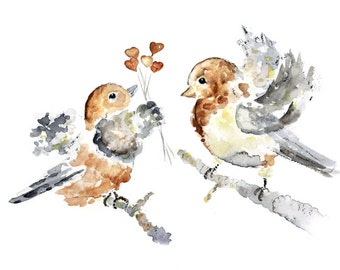 Bird Watercolor Print, Love Art, Love Birds Painting, Gift for Girlfriend, Bird Painting, Gift for Wife, Love Print