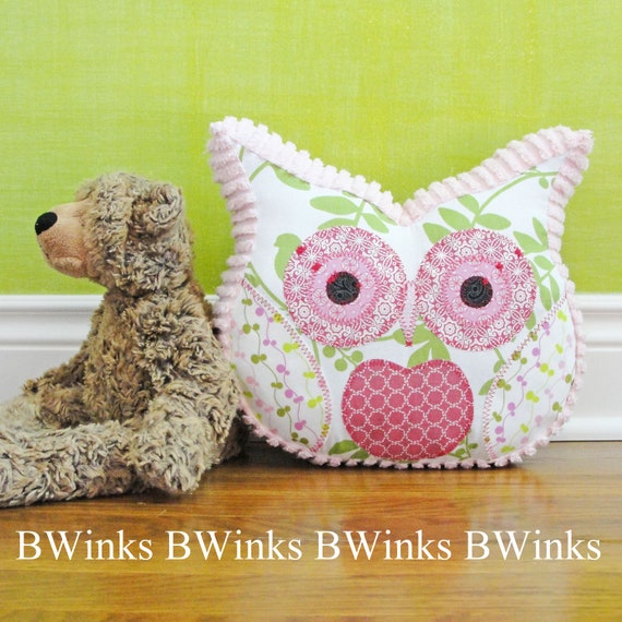 Owl Pillow Stuffed Owl - Bedroom Decor Pillow - No.5 - Pinks & Greens