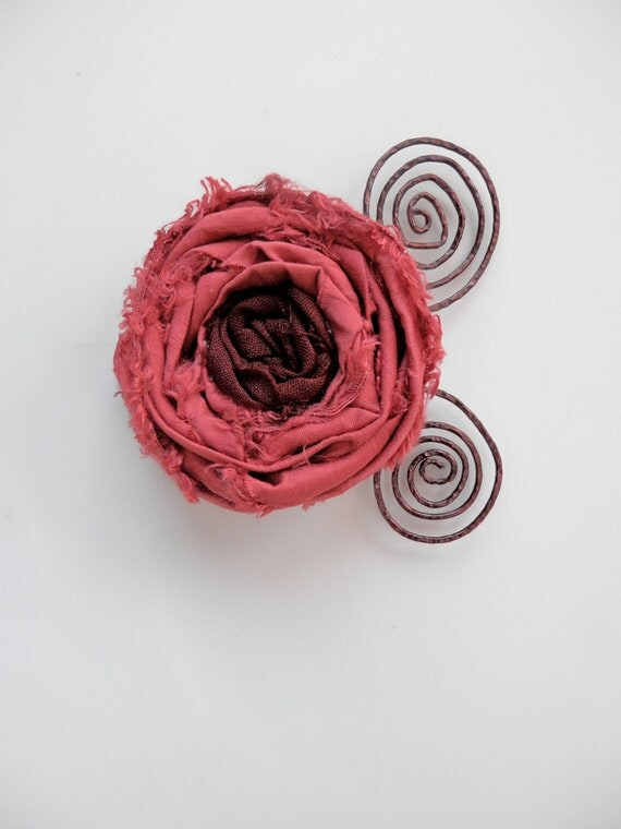 Wearable Whimsy in Dark Rose and Burgundy/Brown - Rolled ribbon rosette pin with dark copper scrolled wire