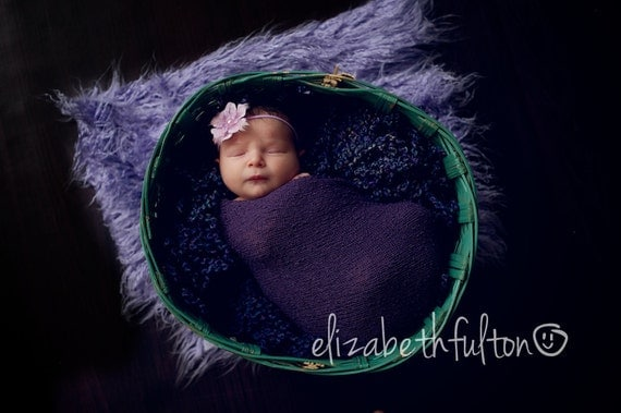 Purple Baby Headband, Newborn Girl Photography Props, Purple Feather Headband, Purple Flower Headband, Newborn Photo Prop Girl Accessories