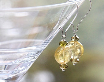 Summer Outdoors Citrine Earrings Peridot Gemstone Earrings November Birthstone Earrings Yellow and Olive Green Wire Wrapped Sterling Silver