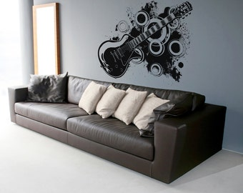 Vinyl Wall Decal Sticker 70's Inspired Electric Guitar OSAA136m