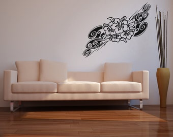 Vinyl Wall Decal Sticker Hawaiian Flower Swirl OSAA373B