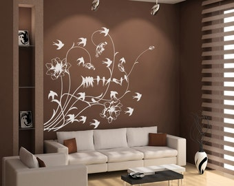 Vinyl Wall Decal Sticker Birds with Flowers 1001m