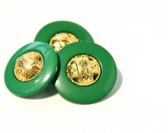 6 Green Vintage Buttons - 1950s - 60s Plastic Buttons - New Old Stock Buttons - SIX Small Gold Green Buttons