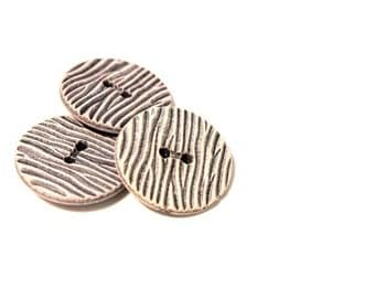 6 Zebra Vintage Buttons 25 mm - 1960s Plastic Buttons - New Old Stock Buttons - Black and Grey Buttons
