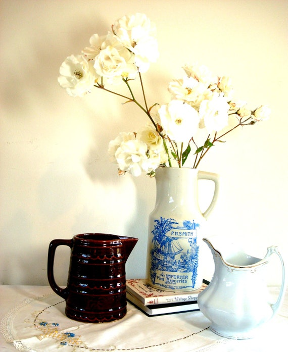 Vintage Blue and White Flower Pitcher