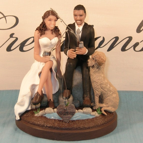 Items similar to fishing wedding cake topper on etsy for Fishing cake toppers
