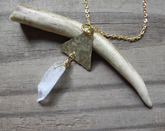 crystal point necklace, rustic brass triangle necklace, triangle and crystal pendant, raw crystal necklace, geometric necklace