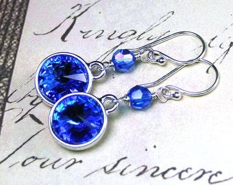 ON SALE - Long Swarovski Rivoli Crystal Earrings in Rich Sapphire Blue - Handmade with Swarovski Crystal and Sterling Silver