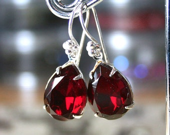 Scarlet Red Vintage Crystal Earrings - Siam Red - Estate Style Earrings - Sterling Silver