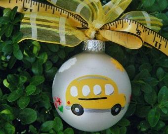 School Bus Ornament - Teacher Appreciation, Bus Driver Gift, Personalized Teacher Gift, Hand Painted Christmas Ornament, School Ornament