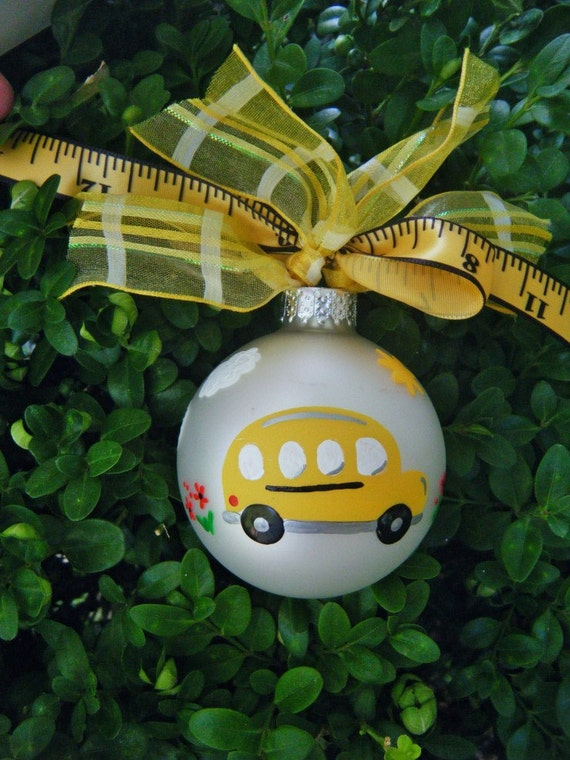 School Bus Ornament - Teacher Appreciation, Bus Driver Gift, Personalized Teacher Gift, Hand Painted Christmas Ornament, School Ornament