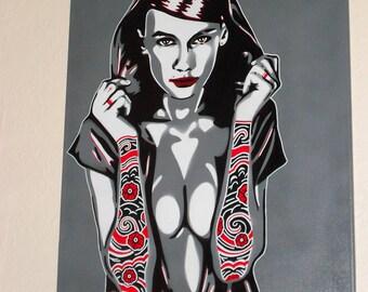 Tattooed Sleeves canvas painting hooded woman stencil art graffiti art spray paint art pop Japanese tattoo design arms ink pop art greys,red