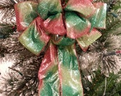 Red, Lime Green  and Traditional Green Glitter Decorative Christmas bow