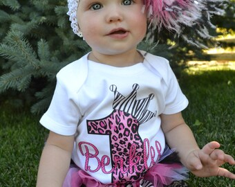 Pink Leopard Princess Crown T Shirt or Bodysuit Personalized Any Birthday Number