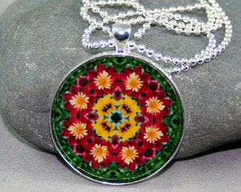 Mandala Pendant Necklace Dahlia Boho Chic Sacred Geometry New Age Hippie Kaleidoscope Unique Gift For Her Gift For HerDignified Elegance