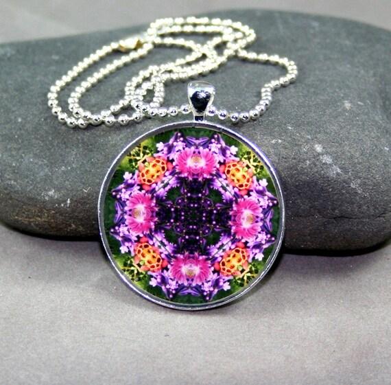 Columbine Pendant Necklace Boho Chic Mandala New Age Sacred Geometry Hippie Kaleidoscope Wonderfully Wild