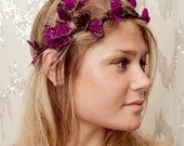 Dark Purple Butterfly Crown -renaissance, fantasy wedding, bride, photo prop