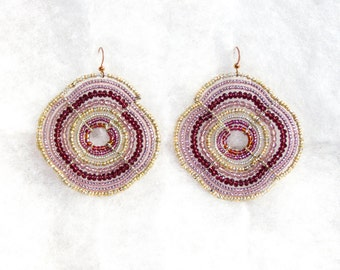 Amethyst and Gold Maasai (African) Beaded Earrings (Large)