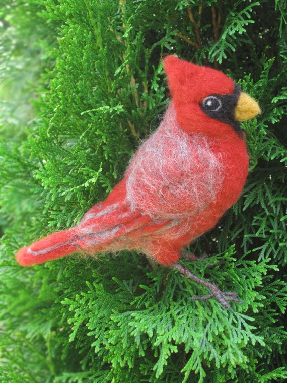 Reserved for Jerry, Needle felted Cardinal, life sized poseable bird