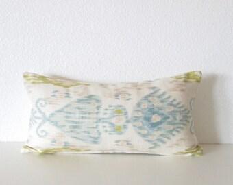Robert Allen Khanjali Glacier 8x16 light blue ivory green mini lumbar pillow cover