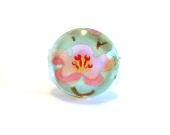 Delicate Pink Cherry Blossom Ring with Adjustable Band