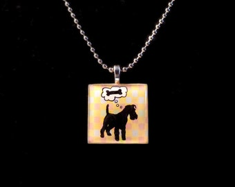 Airedale and Bone Square Wood Tile Pendant Necklace