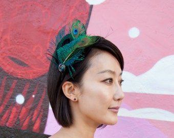 Peacock Feather Headband with rich black feathers and spiral of peacock