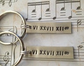 Couples Keychains Set, Personalized - Roman Numeral Date, Anniversary, Wedding, Personalized, Set of 2, Gift, Couples Gift, Matching