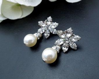 Pearl Bridal Earrings, Ivory Swarovski Pearls,  Bridal Earrings, Bridal Stud Earrings, Bridal Rhinestone Earrrings, Stud Earrings, ANNA