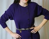 Vintage 80s Purple Dress by Oscar de la Renta: Knit Dress