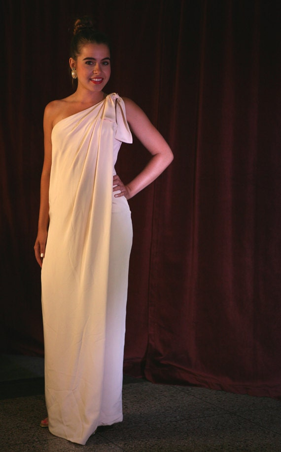 Vintage 80s Grecian Goddess Gown by Eric Gaskins/Givenchy Apprentice: Ivory, Small